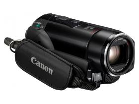 Canon Legria HF M32 with hand strap and 15x zoom lens.