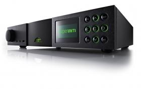 Naim SuperUniti with the green OLED display frontmost.