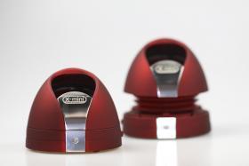 The X-Mini MAX II speakers in red.