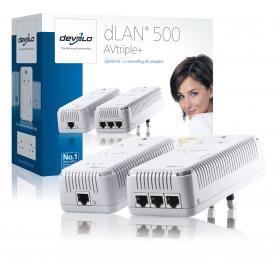The Devolo dLAN 500 AVtriple+ powerline technology network adapter kit and box