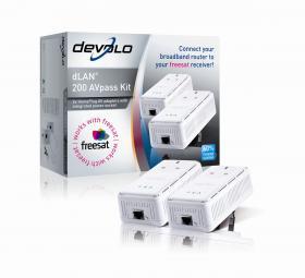 Devolo dLAN 200 AVpass HomePlug Freesat AV Adapter Kit.